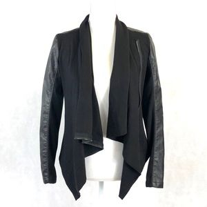 Blank NYC Faux Leather Drape Front Jacket
